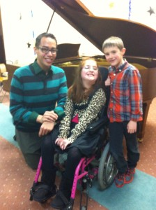 Audie, Sophia, and Sophia's brother Finn at a recital
