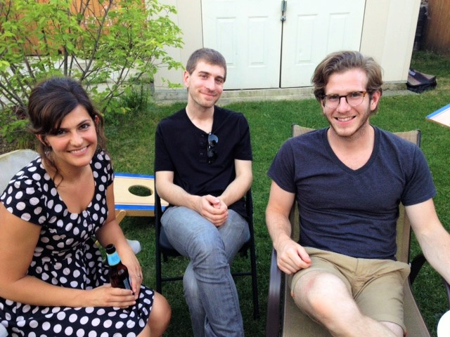 Teachers Emily Volz, Matt Gold, and Peter Groch at our backyard BBQ