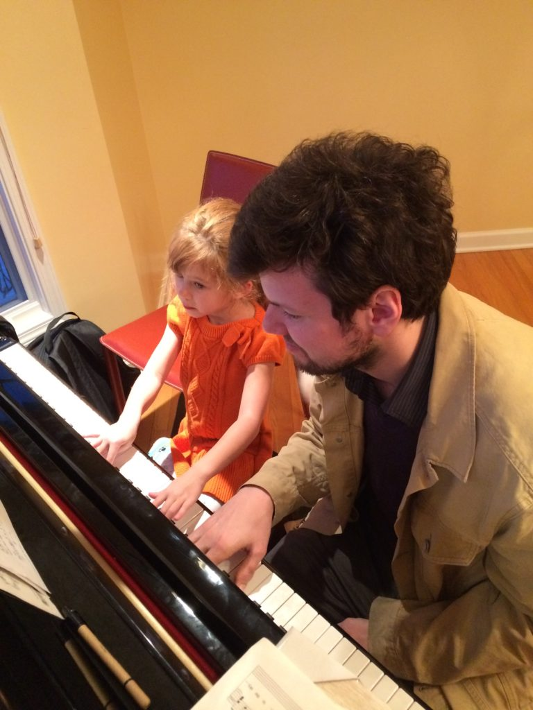 Piano student and teacher