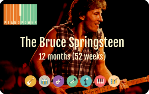 gift card with Bruce Springsteen, Piano Power logo and instrument icons