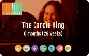 gift card with Carole King and instrument icons